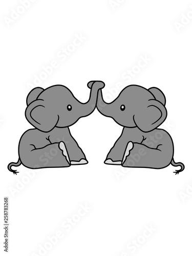 Elefanten 2 Freunde Team Paar Liebe Pärchen Brüder Schwestern