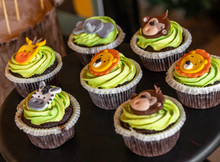 Safari Themed Animal Cupcakes For Baby Shower Party Decoration