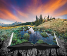 Alpine Mountain Valley On The Pages Of Book