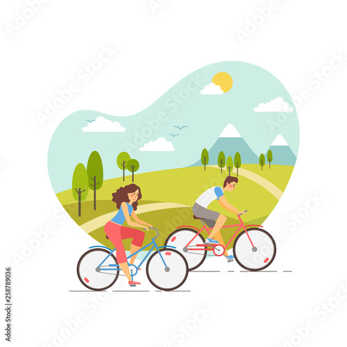 Obraz na płótnie Vector illustration of happy young couple riding bicycles