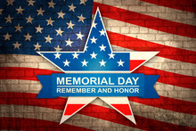 Banner For Memorial Day With Star In National Flag Colors. Memorial Day On American Flag Background