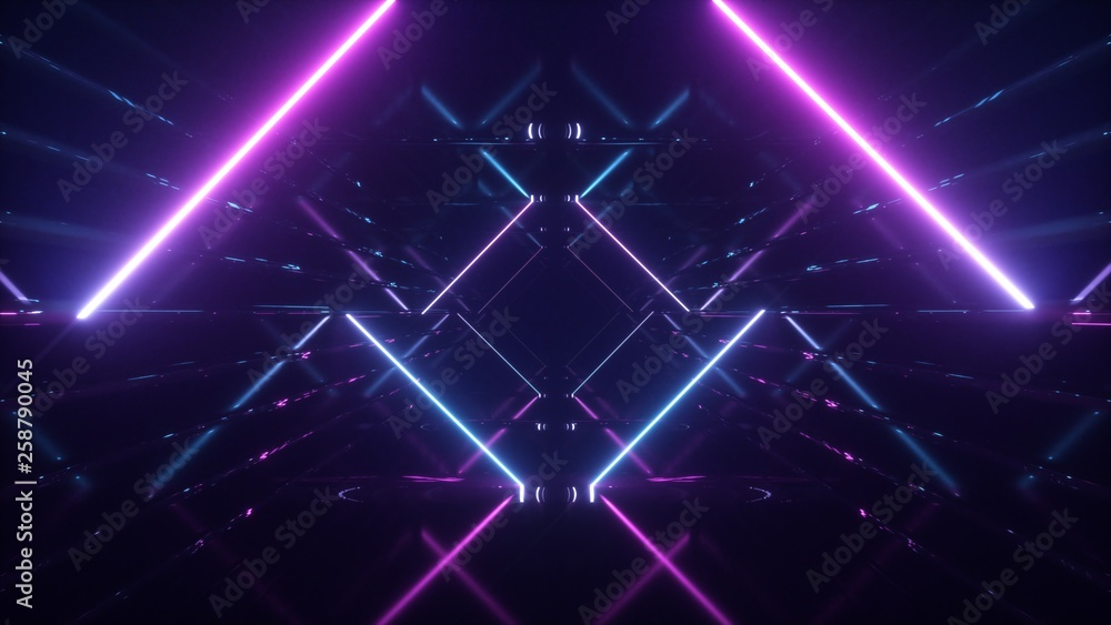 Fototapety, obrazy: Abstract flying in futuristic corridor background, fluorescent ultraviolet light, mirror lines laser neon lines, geometric endless tunnel, 3d illustration, blue pink spectrum