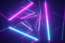 Abstract Flying In Futuristic Corridor With Triangles Background, Fluorescent Ultraviolet Light, Colorful Laser Neon Lines, Geometric Endless Tunnel, Blue Pink Spectrum, 3d Illustration