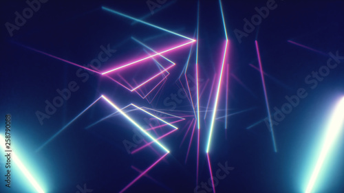 Fotografie, Tablou Abstract flying in futuristic corridor with triangles background, fluorescent ul