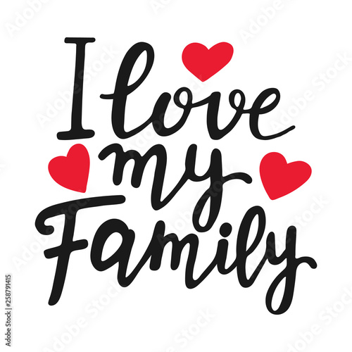 photo relating to Printable Red Hearts identify I enjoy my family members special quotation. Ground breaking brush pen lettering