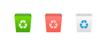Garbage Vector Icon Set. Trash Bin, Can Illustration Symbols Collection. Environmental, Recycling, Waste Management. App Icon.