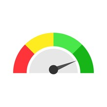 Speedometer Icon Or Sign With Arrow. Four Color Speedometer