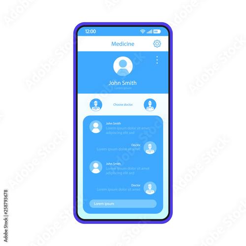 Fotografía  Online medical consultation smartphone app interface vector temp