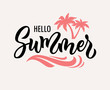 Hello summer hand drawn vector text illustration.