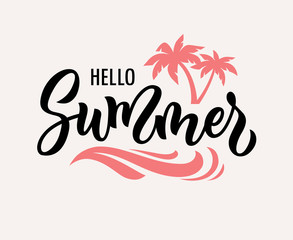 Hello summer hand drawn vector text illustration.