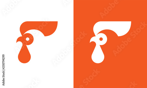 Fotomural Rooster head logo template.