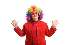 Mature Woman With A Colorful Wig