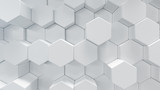 3D illustration white geometric hexagon abstract background. Surface hexagon pattern, hexagonal honeycomb.