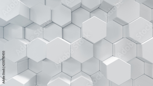 3D illustration white geometric hexagon abstract background. Surface hexagon pattern, hexagonal honeycomb.