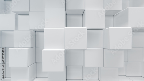 Carta da parati White geometric cube, cubical, boxes, squares form abstract background