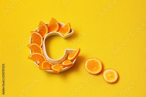 Vitamin C in food concept Canvas Print