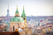 Panoramic view of Prague in sunny spring time