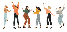 Group Happy Dancing People Isolated On White Background. Dance Party Illustration