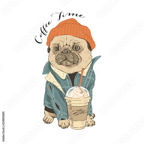 Pug in hat with coffee. Typography graphic print Canvas Print