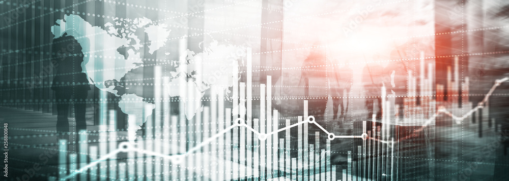 Fototapeta Website Header. Universal Abstract background. Silhouettes of Business People. Economic growth graph chart. Double exposure mixed media.