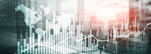 Website Header. Universal Abstract Background. Silhouettes Of Business People. Economic Growth Graph Chart. Double Exposure Mixed Media.