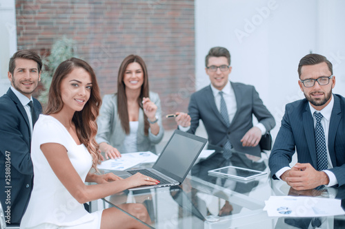 Stampa su Tela professional business team sitting at the office Desk