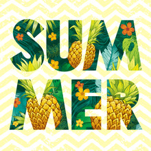 Hello Summer Logo With Pineapple Fruit, Tropic Leaf Pattern. Ananas Hand Drawn Illustration For Hawaiian Flyer, Poster, Luau Party Invitation, Print Design. Paradise Element, Vector Seamless Zig Zag