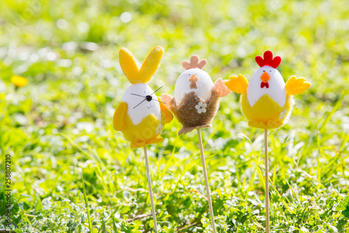 Easter egg rabbit and chicken on green grass Canvas Print