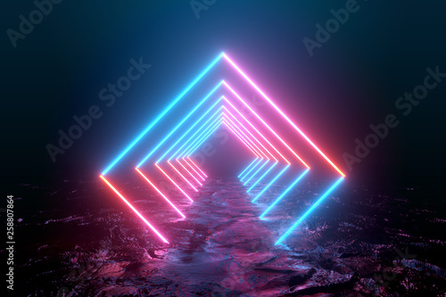 Creative background, glowing lines, tunnel, neon lights, virtual reality, arch, bright blue spectrum of bright colors, laser show, laser frame. 3D rendering, 3D illustration.