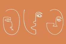 Set Of Trendy Minimalistic Faces. Abstract Linear Silhouette Of Human Faces. Modern Avant- Garde Poster.