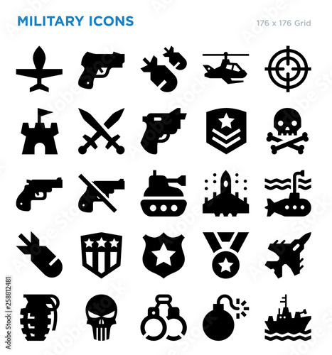 Fotografie, Tablou  Military Vector Icon Set
