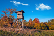 Hunting Tower In Wild Forest. ...