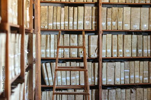 Sala de archivo con estantes de madera 02 Canvas Print