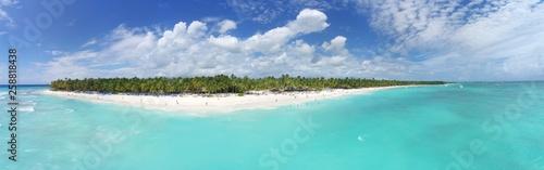 panoramic aerial of the wonderful tropical caribbean island Saona, Dominican Republic