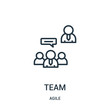team icon vector from agile collection. Thin line team outline icon vector illustration.