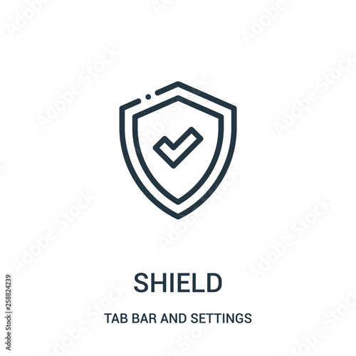 Valokuvatapetti shield icon vector from tab bar and settings collection