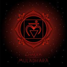 Vector Illustration With Symbol Muladhara - Root Chakra On Black Background.