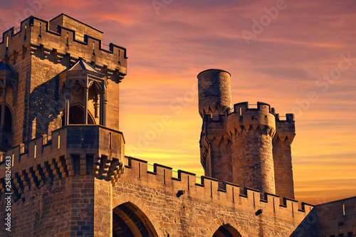 Canvas Print Atardecer en el castillo