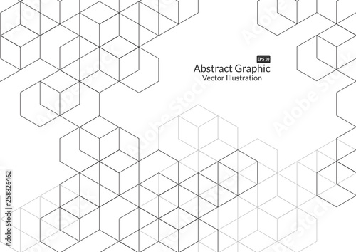 Obraz Abstract boxes background. Modern technology with square mesh. Geometric on white background with lines. Cube cell. Vector illustration - fototapety do salonu