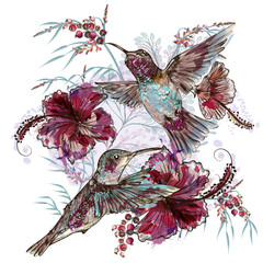Fototapeta Vintage Fashion vector floral illustration with hummingbirds and hibiscus flowers