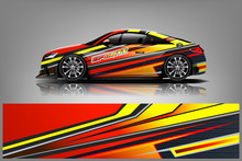 Sport Car Decal Wrap Design Vector. Graphic Abstract Stripe Racing Background Kit Designs For Vehicle, Race Car, Rally, Adventure And Livery - Vector