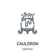 cauldron icon vector from fairytale collection. Thin line cauldron outline icon vector illustration.