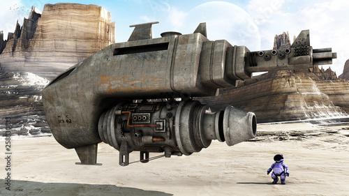 Fotografie, Obraz  concept art of desert speedster in a desert environment