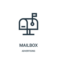 Mailbox Icon Vector From Advertising Collection. Thin Line Mailbox Outline Icon Vector Illustration.