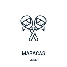 Maracas Icon Vector From Music Collection. Thin Line Maracas Outline Icon Vector Illustration.