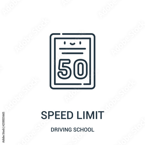 Fotografía  speed limit icon vector from driving school collection