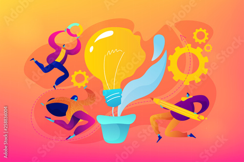 Vision statement, business and company mission, business planning concept. Vector isolated concept illustration with tiny people and floral elements. Hero image for website.