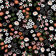 Beautiful Colorful Flowery Colorful Pattern In Small-scale Flowers. Liberty Style .Floral Seamless Background