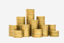 Gold Coins Stacks Isolated On...