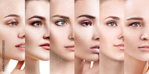 Cuadros en Lienzo Collage of beautiful women with perfect skin.